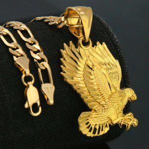 "18k Plated Eagle Diamond Pendant 5mm 18"" Necklace"